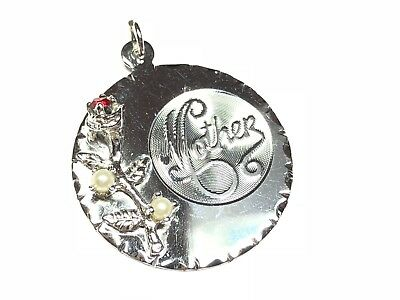 """.925 Sterling Silver Round Ornate """"MOTHER"""" Rose Pendant - Signed TC - FREE S&H"""