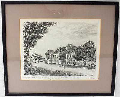 FASAMO Beautiful Lithographic Village Landscape Signed Art Print In Frame - S68