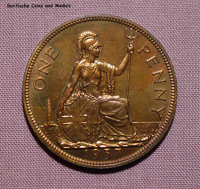 1937 KING GEORGE VI CORONATION PROOF ONE PENNY - aFDC