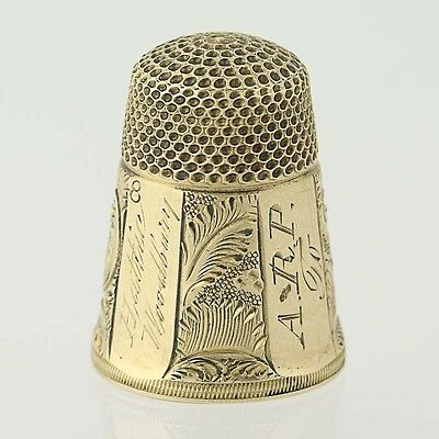 Monogrammed Thimble - 10k Yellow Gold Etched Feathers Design Size 8
