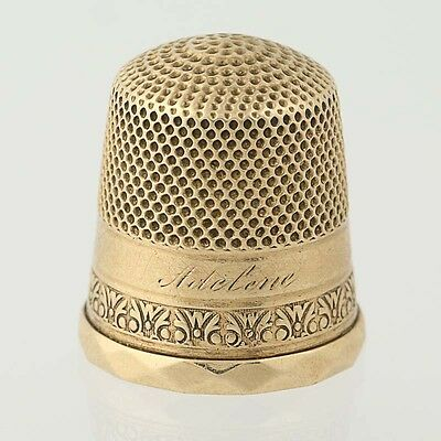 """Monogrammed Thimble - 10k Yellow Gold Etched Design """"Arlene"""" Size 8"""