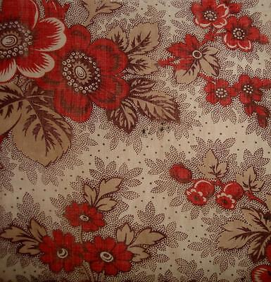 BEAUTIFUL 19thc FRENCH FINE MADDER PRINTED COTTON, FLOWERS c1850