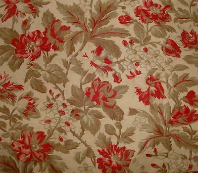 BEAUTIFUL 19th CENTURY FRENCH LINEN COTTON, WILD ROSES, ROSEBUDS, PROJECTS REF