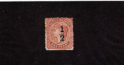 """Turks Islands, 1/2 Penny On One Penny Dull Red Surcharge """"queen Victoria"""" 1881"""