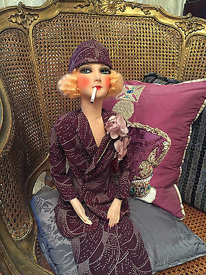 Antique French Boudoir Doll/poupee De Salon/smoking Doll/pola Negri Style