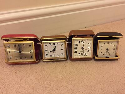 4 x VINTAGE TRAVEL ALARM CLOCKS FOR SPARES OR REPAIR - WESTCLOX EUROPA COLUMBIA