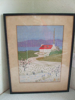Vintage Framed Tapestry Picture- Cottage By A Scottish Loch Scene