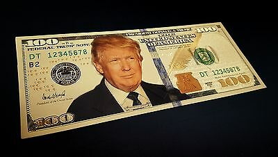 USA President Donald J. Trump .999 24k Gold Plated $100 Dollar Bill Bank Note
