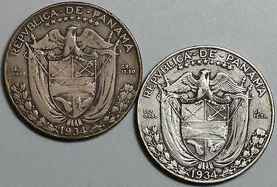 1934 PANAMA 90% Silver 1/2 Balboa Lot of TWO Coins 90K minted (16042812R)