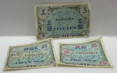 1945 Japan 10 & 50 Sen - 5 Yen Allied Military Currency Notes