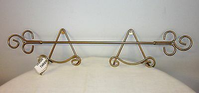 """Horizontal Decorative Plate rack gold tone wall mounted 29 1/2"""" with hardware"""