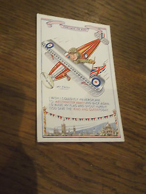 1937 Kit Forres Artist Signed Postcard Flying In An Aeroplane -God Save The King