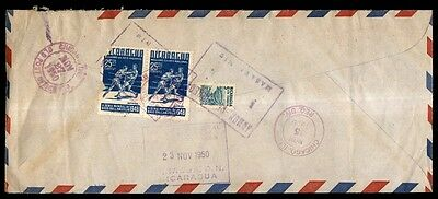 Nicaragua Boxing Issues On 1950 Cover Certified Registered  To Usa