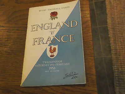 1953 England V France Rugby Union Programme