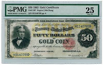 Look!! Very Nice Rare Vf 1882 $50 Silas Wright Gold Certificate Pmg 25! H1140789