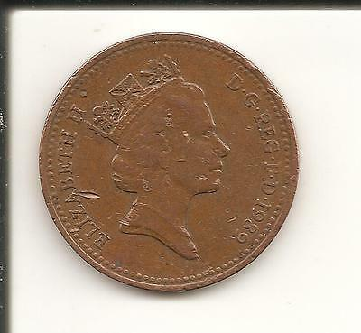 1p Coin one penny QEII Decimal UK 1989 used