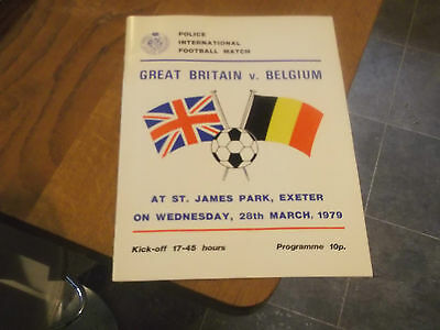 1979 Great Britain V Belgium Police International Programme Signed By Ref Etc