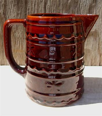 Large VTG MarCrest Daisy Dot Brown Stoneware Pitcher Jug Rustic Oven Proof USA