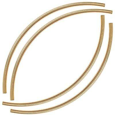 Gold Plated Long Curved Noodle Tube Beads 3mmx100mm/4