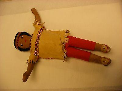 "Vintage Antique 13"" American Indian Cloth Doll Beaded Deer Skin Outfit"