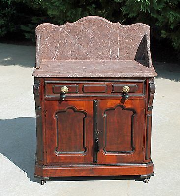 Victorian Walnut Brown Marble Top Washstand Nightstand ~ Fancy Backsplash c1875