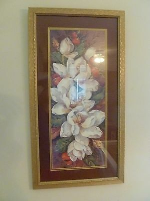 frame wall art gold flower magnolia picture white ruby red Sign Barbara Mock