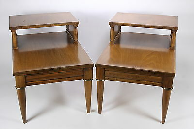 Pair Of Matching 2-Tier Vintage End Or Lamp Tables Walnut Wood Mid Century