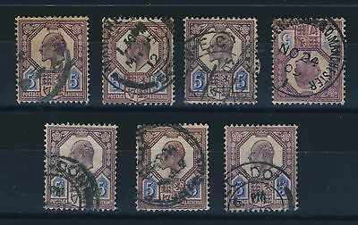 GB KEVII 5d PURPLE/BLUE SG 242/44 & 293/94 x7 VERY FINE USED shades unsorted