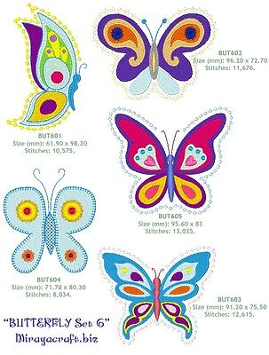 """SET 6 """"BUTTERFLY & DRAGONFLY"""" for MACHINE EMBROIDERY DESIGN, FAST EMAIL"""