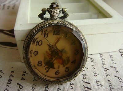 antique bronze Alice in Wonderland rabbit necklace pendant watch I am late