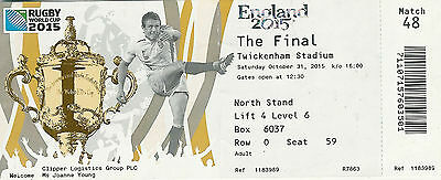New Zealand v Australia 31 Oct 2015 RUGBY WORLD CUP TICKET Rugby World Cup Final