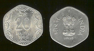 India 20 Paise 1988 Unc Asoka Lion (6 Sided Coin)