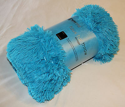 Hotel Living Blue Faux Fur Soft Shaggy Throw Rug 130cm x 160cm New