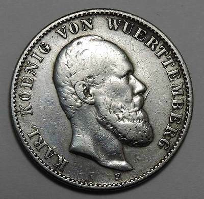 Germany States Wurttemberg 1876-F Silver 2 Mark.