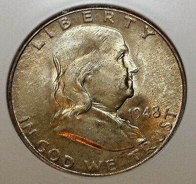 Toned Uncirculated 1948-D Franklin Half MS 65 FBL NGC Free Shipping