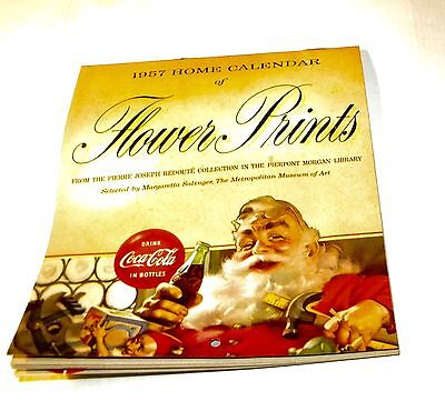 1957 COKE Home Calendar of Flower Prints with Coca Cola Santa Claus Advertising