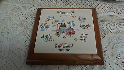 """INTERNATIONAL china HEARTLAND pattern Square Trivet with Wooden Base - 7 1/2 """""""