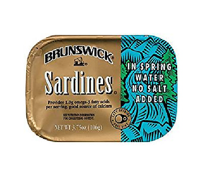 Brunswick Sardines Packed in Spring Water No Salt Added (Pack of 4) 3.75 oz Cans