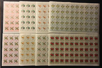 Colombia 1960 Flowers Stamps 8 Full Sheets 7 values All MNH Mint Never Hinged