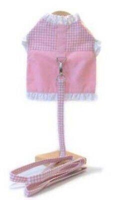 "Dog Harness w. Leash - Doggie Design - Pink Gingham & Lace - 19-21"" Chest"