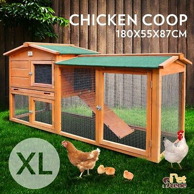 Chicken Coop Guinea Pig Ferret Rabbit Hutch Hen Cage House 2 Storey Wooden