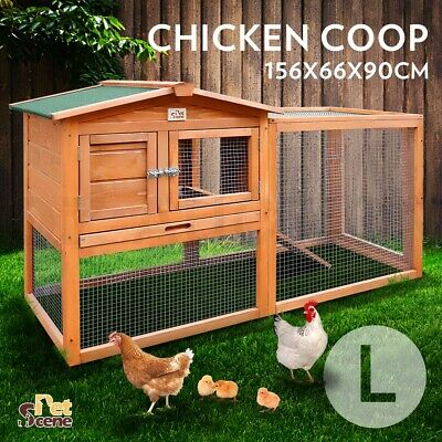 Chicken Coop Ferret Guinea Pig Rabbit Hutch Hen Cage House 2 Storey Wooden