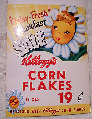 Vintage Display Advertising Daisy-Fresh Breakfast Sale Kellogg's Corn Flakes