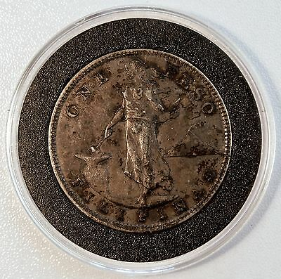 1907 S 1 Peso US-Philippines Silver Coin Manila Bay AU Details LV#632