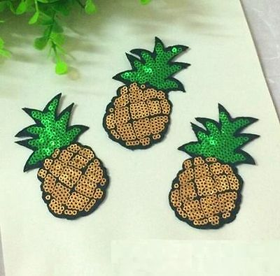 8CM Sequins Pineapple Cloth Applique Patch Clothing Embroidery Sewing Craft  ☆