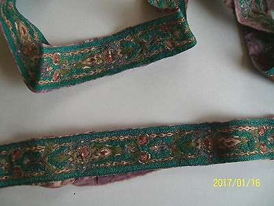 Vintage French Ribbon Embroidered Trim Metallic