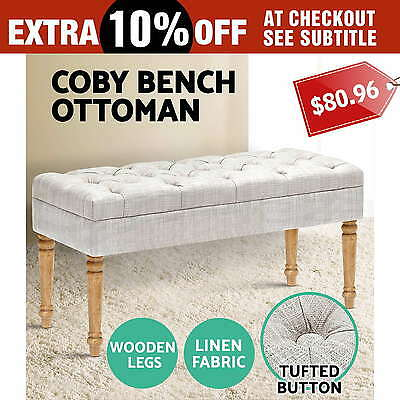 COBY Blanket Chair Ottoman Linen Fabric Dressing Bench Storage Foot Stool Sofa