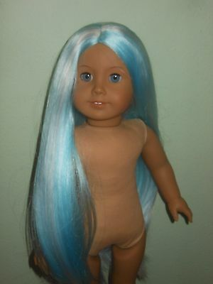 """American Girl Doll OOAK JLY Blue Eyes Blue White Wig Long Hair 18"""" no clothes"""
