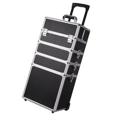 Pro 4in1 Interchangeable Aluminum Rolling Makeup Case Cosmetic Train Box Trolley