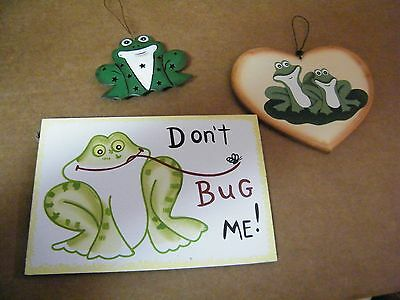Country Wood heart frogs lily pad Don't Bug Me Punched metal frog decor sign 3pc